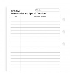 Personal Birthdays, anniversaries and special occasions